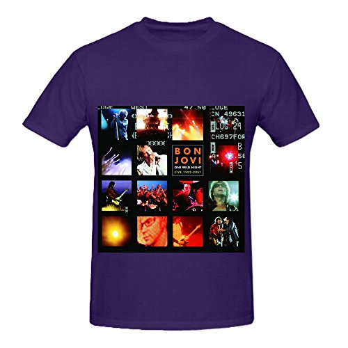 [Bon Jovi One Wild Night Soul Album Mens O Neck Design Tee Purple] (Sweeney Todd Halloween)