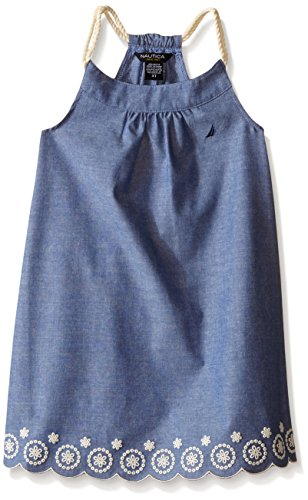 Nautica Little Girls' Faux Linen Dress with Scalloped Hem, Navy, 6