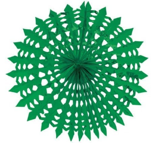 "Creative Converting Glitz Green Hanging Décor 16"" Dimensional Foil Fan"