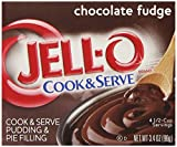 Jell-O Cook and Serve Pudding and Pie Filling, Chocolate Fudge, 3.4-Ounce Boxes (Pack of 6)