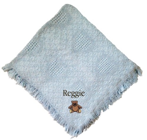Teddy Bear Blue 100% Cotton Custom Embroidered Personalized Baby Blanket Hot Pink Thread front-1031221