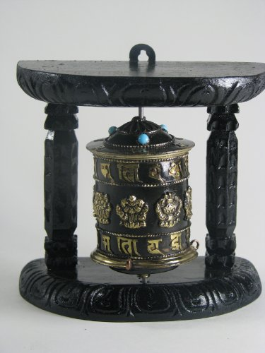 Auspicious Tibetan Prayer Wheel with 8 Lucky Symbols and Mantras Embossed