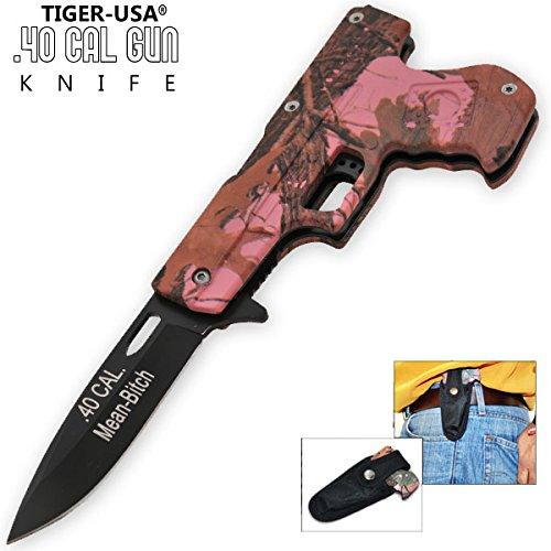 AO Pink Camo MEAN BITCH Pistol Handle Knife PA0211BWCM8