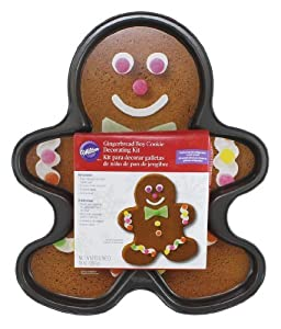 WILTON Giant Non-Stick Gingerbread Boy Pan With Decorating Kit