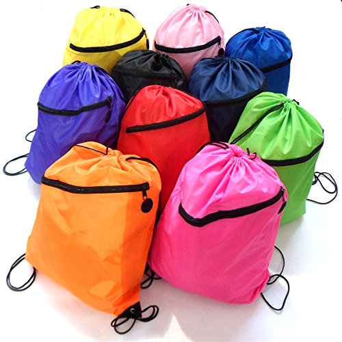 Drawstring Bag Backpack Rucksack School Book Bag With Corner Protectors / Large Front Zipped Pocket / Built- In Slot for Earphones Headphones / Sport Gym Swim PE Football Karate Ju-Jitsu Running Swimming Boxing Judo Netball Bag 'Brand New'