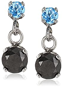 14k White Gold Blue Topaz and Black Diamond Dangle Earrings (1/2 cttw)