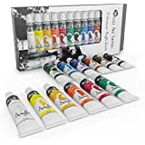Acrylic Paint Set for Beginners, Students or Artists - A Perfect Mix of Quality and Versatility - 12 Vivid Colors - Easy to Blend and Good Coverage on Paper, Canvas, Wood or Fabric - Not Too Thick for Great Flexibility - 100% Satisfaction Money Back Guarantee