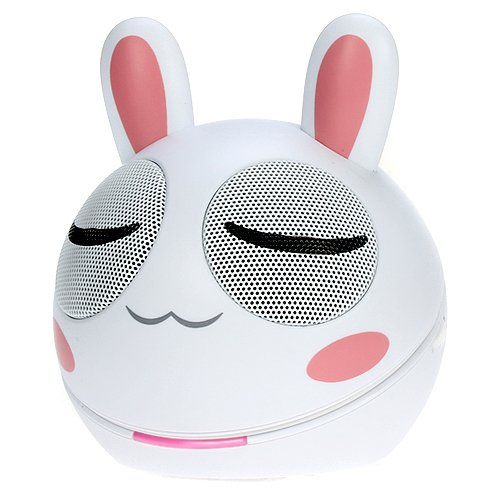 Ikross 3.5Mm White And Pink Rabbit Portable Mini Stereo Speaker For Blackberry, Iphone®, Ipod®, Ipad®, Smartphone, Tablets, Cell Phone