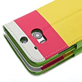 myLife (TM) Pink and Lime Green {Color Block Design} Faux Leather (Card Cash and ID Holder + Magnetic Closing) Slim Wallet for the All-New HTC One M8 Android Smartphone - AKA 2nd Gen HTC One (External Textured Synthetic Leather with Magnetic Clip + Internal Secure Snap In Hard Rubberized Bumper Holder)