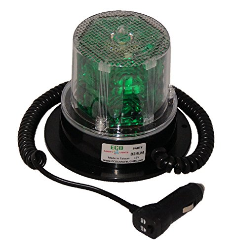 B24Lm 12V Dc Beacon Magnetic Mount 24 Led'S Warning Safety Light Truck (Green)