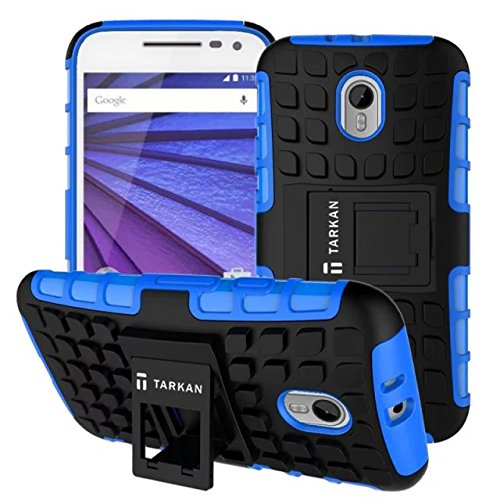 TARKAN Hard Armor Hybrid Rubber Bumper Flip Stand Rugged Back Case Cover For Moto G 3rd Generation (Blue)