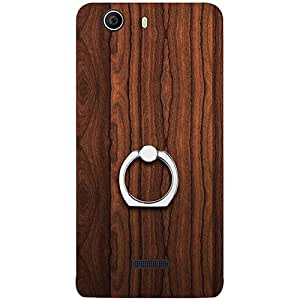 Casotec Wooden Texture Design 3D Printed Hard Back Case Cover with Metal Ring Kickstand for Micromax Canvas Nitro 2 E311