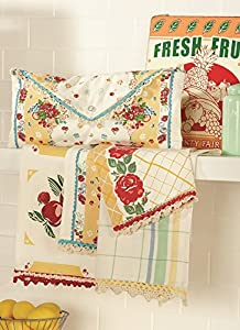 Vintage Style Fresh Fruit in Yellow Kitchen Towels Set of 4