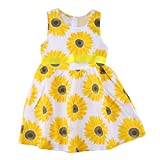 2017 FEITONG Summer Little Girls Clothes Sunflower Floral Princess Dresses (7T/ 7Years, Yellow)