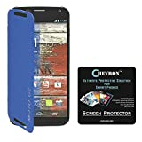Chevron Flip Cover For Moto G 2nd Gen With Chevron HD Screen Guard (Blue)