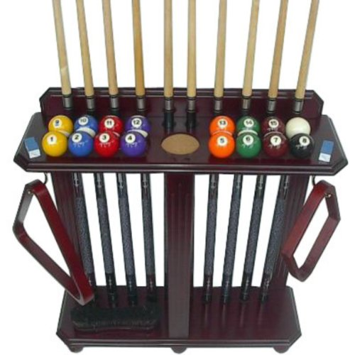 Read About Iszy Billiards 10 Pool Cue Billiard Stick Floor Rack and Holder, Mahogany