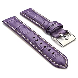 StrapsCo Premium Purple Croc Embossed Leather Watch Strap size 20mm
