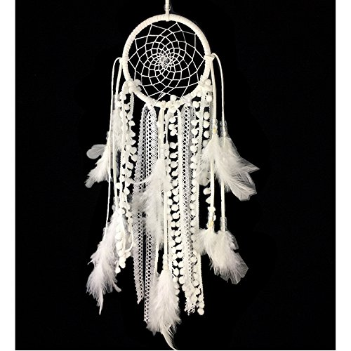 Dremisland Dream catcher handmade traditional white feather dream catcher wall hanging car hanging decoration ornament gift (Dia 4.33