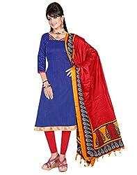 Lookslady Printed Blue Khadi Silk Dress Material