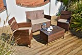 Dakota 4pc Rattan Garden Patio or Conservatory Sofa Set - 2 Seater Sofa, 2 Armchairs & Coffee Table