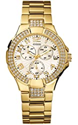 GUESS Women's G13537L Status Crystal Accent Multi-Function Gold-Tone Sport Watch