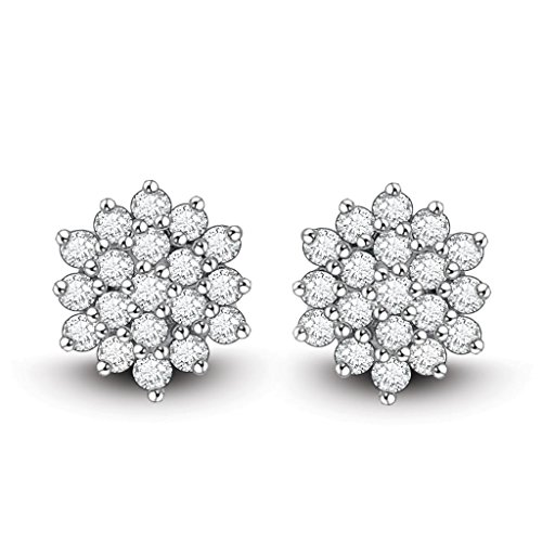 Ciemme Women's 925 Sterling Silver Fashion CZ Jewellery Round Floral Stud Earrings (multicolor)