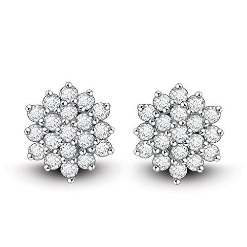 Ciemme Women's 925 Sterling Silver Fashion CZ Jewellery Round Floral Stud Earrings (multicolor)