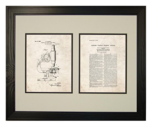 """Microscope And Counting Chamber Patent Art Old Look Print In A Solid Pine Wood Frame (16"""" X 20"""")"""