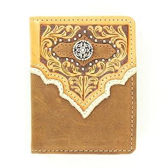 Nocona Men's Studded Fancy Overlay Bi-Fold Wallet Med Brown One Size