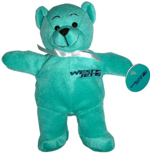Westjet Airlines Teal Teddy Bear Blue Logo Plush