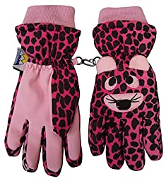 N\'Ice Caps Kids Cute Animal Faces Cold Weather Waterproof Ski Gloves (10-12 Years, Tiger - Pink)