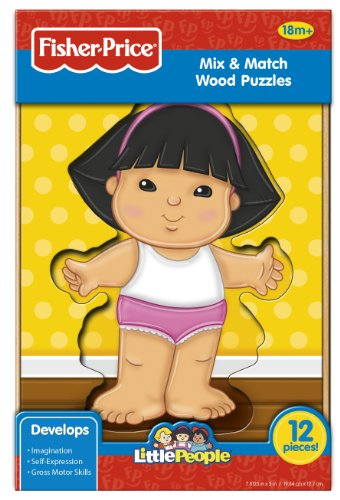 Fisher-Price Mix and Match Wood Puzzle (Little People), Girl, 12-Piece