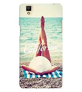 Printvisa Girl Relaxing On A Beach Back Case Cover for Oppo F1