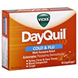 Vicks DayQuil Cold & Flu, Multi-Symptom Relief, LiquiCaps, 16 ct.