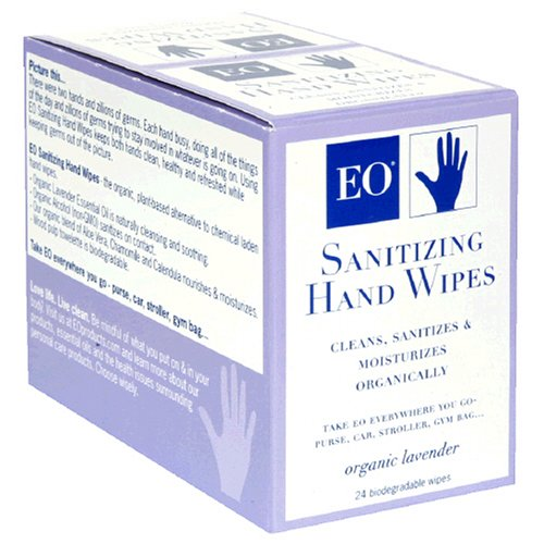 EO Sanitizing Hand Wipes, Organic Lavender, Biodegradable, 24-Count Boxes (Pack of 2)