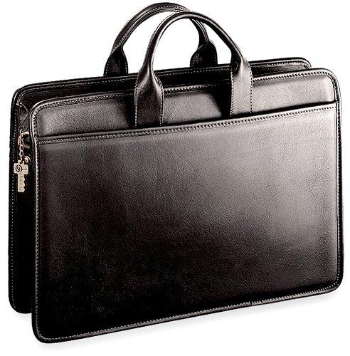 Jack Georges Platinum Collection Single Gusset Top Zip Portfolio, Black Jack Georges Nylon Briefcase