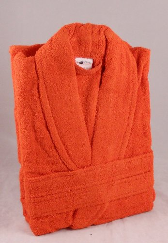 450 GSM ORANGE 100% Cotton Terry Towelling Bathrobe - Free Size