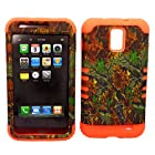 2 in 1 Hybrid Case Protector for AT&T Samsung Galaxy S II Skyrocket SGH-I727 Phone Hard Cover Faceplate Snap On Orange Silicone + Hunter Series Mixed Leaves Camo