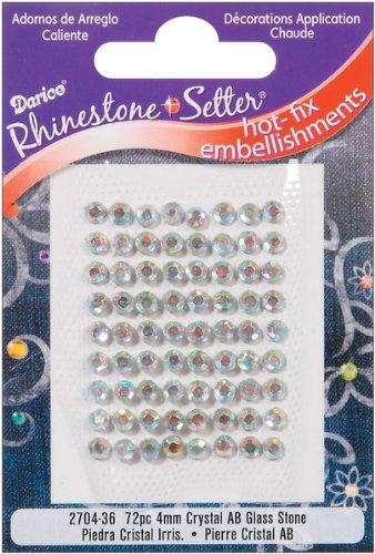 Darice Rhinestone Setter Hot-Fix Embellishments 4mm 72/Pkg: Crystal AB Glass Stone