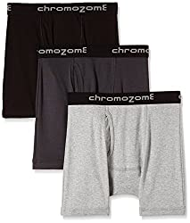 Chromozome Men's Cotton Trunk (Pack of 3) (8902733343831_IT 11_X-Large_Black, Grey and Ash)
