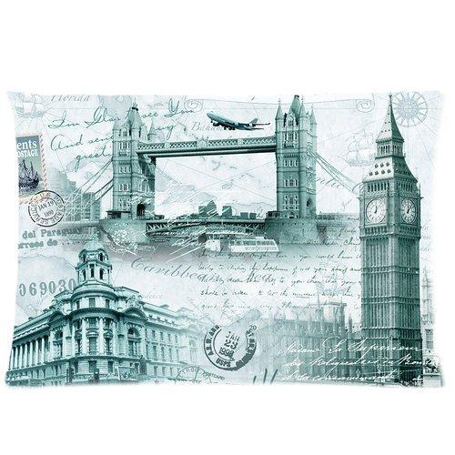 Retro London Big Ben Tower Bridge Postmark Print Custom Zippered Bedding Pillowcase Pillow Case Cover 20X30 (Twin Sides) front-1009629