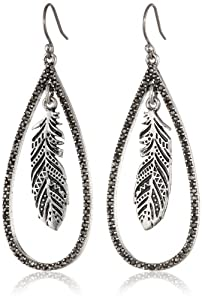 Lucky Brand Feather Orbital Silver Hoop Earrings