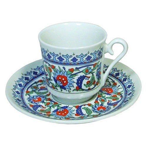 Gural Ensemble à café turc en porcelaine avec tasse à expresso et soucoupe Design ottoman Topkapi
