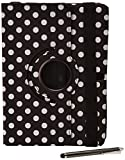 Stuff4 Polka Dot Designed Case with 360 Degree Rotating Swivel Action and Screen Protector/Stylus Touch Pen for 10.1 inch Samsung Galaxy Tab Pro T520/T525 - Black/White