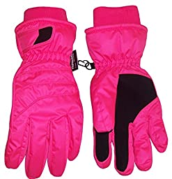 N\'Ice Caps Kids Bulky Thinsulate and Waterproof Ski Glove With Ridges (8-10yrs, Neon Pink)