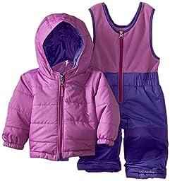 Columbia Baby Girls Newborn Double Flake Reversible Set, Hyper Purple/Blossom Pink, 6/12 months