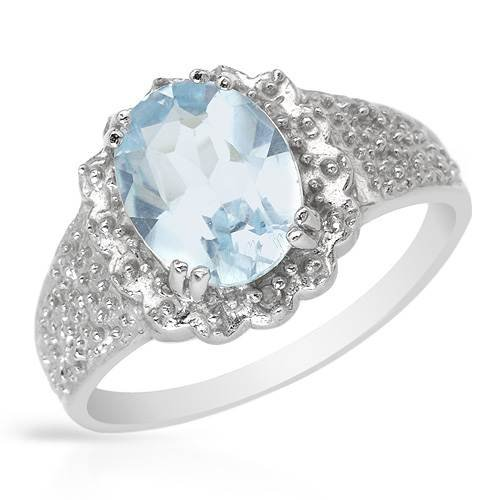Ring With 1.90ctw Precious Stones - Genuine Diamonds and Topaz Crafted in 925 Sterling silver (Size 7)