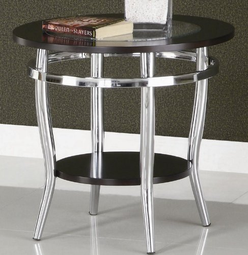 Cheap End Table with Glass Top and Wood Frame in Chrome Metal Base (VF_701227)