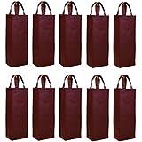 Elife Reusable Gift Bag, Single Bottle Wine Tote Holder Vineyard, 10 Pack Set