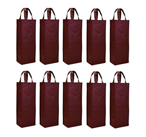 Elife Single Bottle Wine Tote Reusable Gift Bag (Set of 10 )